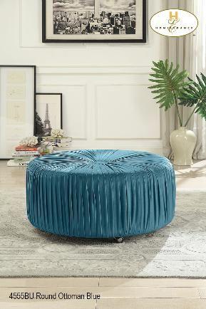 round ottoman upholstered velvet in blue grey or navy ma10 4555bu