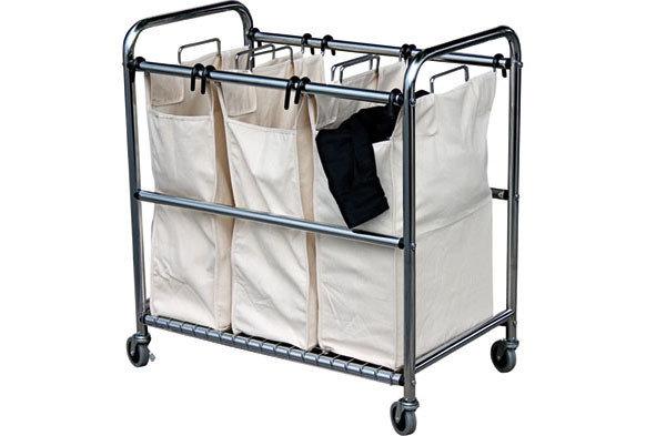 Wasmand - Wasgoedsorteerder met 3 zakken op wielen