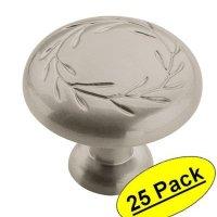 "Amerock BP1581-WN Inspirations Leaf Weathered Nickel Cabinet Hardware Knob - 1-1/4"" Diameter, 25 Pack"