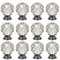 Glass Knobs Yazer Pack of 12 Clear Unique Elegant Round Shape Knobs for Dressers,Cabinet,Cupboard,Kitchen