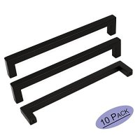 10Pack Goldenwarm Black Square Bar Cabinet Pull Drawer Handle Stainless Steel Modern Hardware for Kitchen and Bathroom Cabinets Cupboard, Center to Center 6-1/4in(160mm)