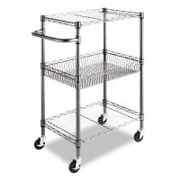 Alera 3-Tier Wire Rolling Cart, 16 by 26 by 39-Inch, Black Anthracite