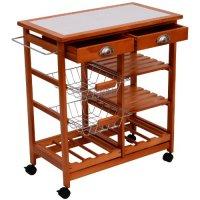 "HomCom 28"" Portable Rolling Tile Top Kitchen Trolley Cart w/ 6 Bottle Wine Rack"