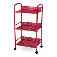 Dar 3-Tier Shelving Cart with Casters, Red