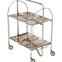 Indoor or Outdoor 2-shelf Stainless Steel Folding Serving Bar Cart, Table with Wheels and Acrylic Trays