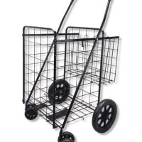 Folding Shopping Cart Swivel Wheel Extra Basket Jumbo Black by SCF