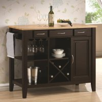 Kitchen Island with Solid Wood Butcher Block Surface and Storage