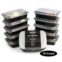 [10-Pack] Premium 1-Compartment Stackable Meal Prep Containers with Lids ● Microwave, Dishwasher Safe and Reusable ● Bento Lunch Box / Compartments with Divider Plates by California Home Goods