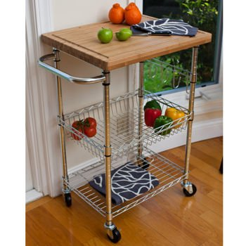 Ikkco EcoStorage Chrome Bamboo Top Kitchen Cart, Roll This Chrome Bamboo  Top Kitchen Cart Into Your Kitchen And Youll Have A Lot Of Extra Space To  Store ...