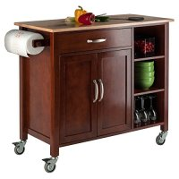 Solid Wood Mabel Kitchen Cart Natural Finish