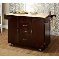 Contemporary Country Style Mobile Kitchen Island Rolling Cart Wooden Frame 4-Storage Drawers and 2-Cabinets with Adjustable Shelf | Towel Rack, Espresso Finish - Includes Modhaus Living Pen