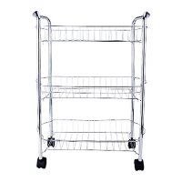 3-Tier Multi-Purpose Removable Kitchen Laundry Bathroom Utility Cart Storage Rack Basket Shelves Stand with Rolling Wheels