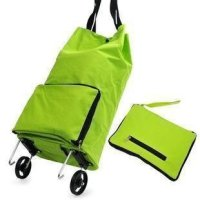 Dailyshops Collapsible Foldable Wheeled Shopping Cart Bag Green