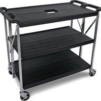"Carlisle SBC203103 Fold 'N Go Collapsible Utility Cart, 350 Pound Capacity, 31"" Length x 20"" Width Shelf, Black"
