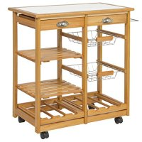 Rolling Wooden Kitchen Island Storage Utility Cart Dining Trolley With Drawers Storage Basket Slatted Shelves Wine Racks Towel Rack, Pinewood And Stainless Steel Material