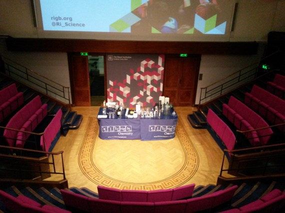 Kitchen Chemistry set up ready to go at the Royal Institution