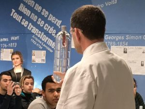 Pupils in Marseilles controlling the Cartesian Diver as part of a British Council, Science in Schools workshop.