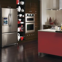Kitchen Cabinets.com Fatigue Mats Modern European Style Cabinets Craft Calvi Thermofoil With A Red Island