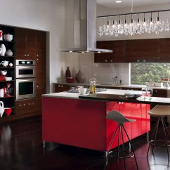 Red Kitchen Islands Curtains For Sale European Style With Island Craft Cabinets Cabinetry