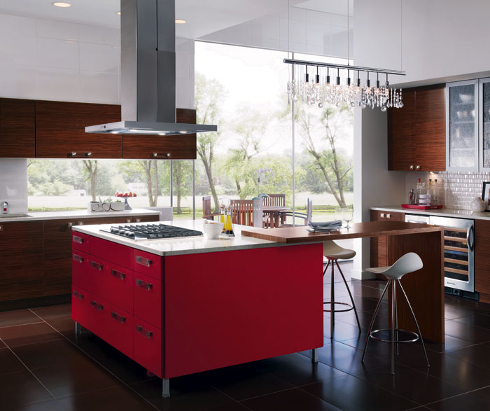 red kitchen islands hotels with full kitchens european style island craft cabinets for cabinetry
