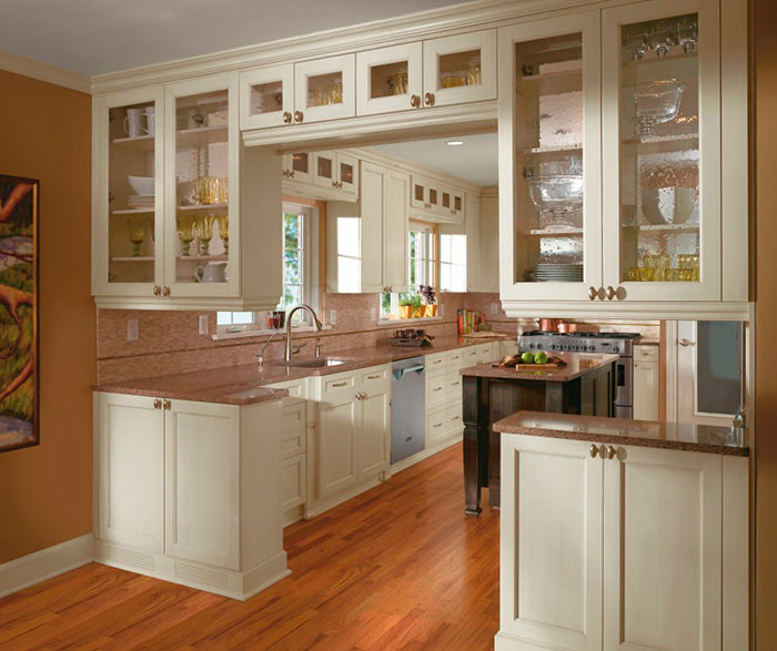 kitchen cabnet corner bench acrylic cabinets with melamine craft off white in casual by cabinetry