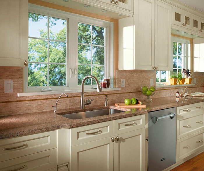 off white kitchen cabinets pendant lights over island casual in craft cabinetry by