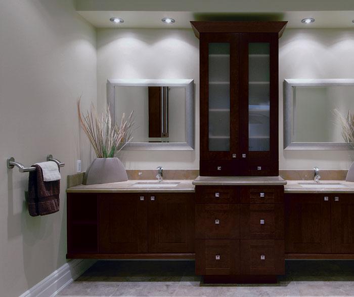 Contemporary Bathroom with Storage Cabinets
