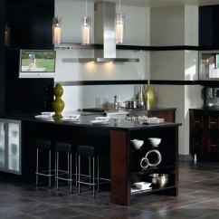 Brushed Nickel Kitchen Hardware Overhead Lighting Contemporary Cabinets In Espresso Finish - ...