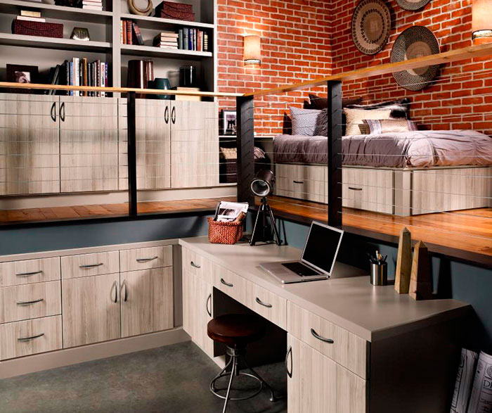 brushed nickel kitchen hardware small ceiling fans contemporary cabinets in loft apartment - craft ...