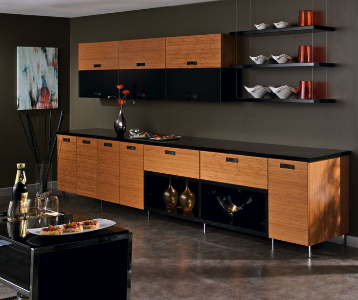 bamboo kitchen cabinets high gloss acrylic in natural finish craft by cabinetry