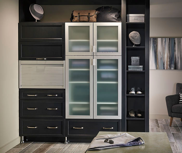 bi fold kitchen cabinet doors mobile home cabinets craft cabinetry dark gray in a casual bathroom by