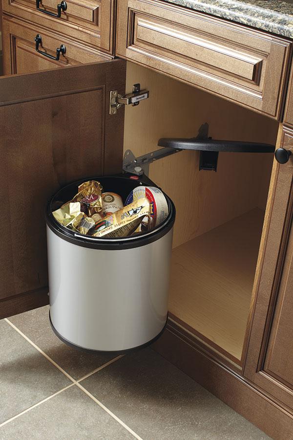 kitchen trash bin open cabinets sink base cabinet with round waste - craft