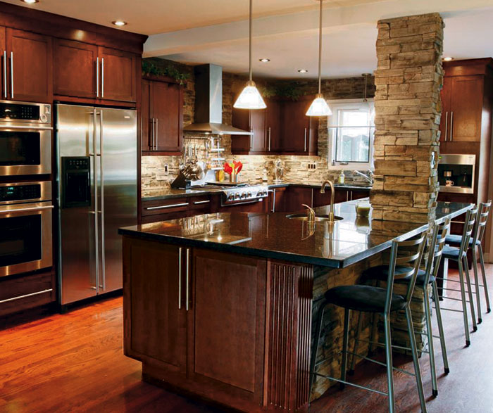 Dark Cherry Cabinets Casual Kitchen Craft Cabinetry