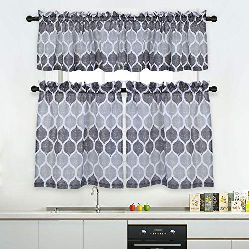 Haperlare 3 Pieces Moroccan Kitchen Window Curtain Set ...