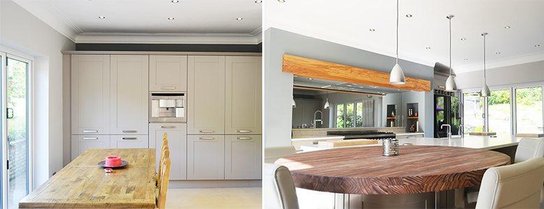wooden furniture in a modern kitchen