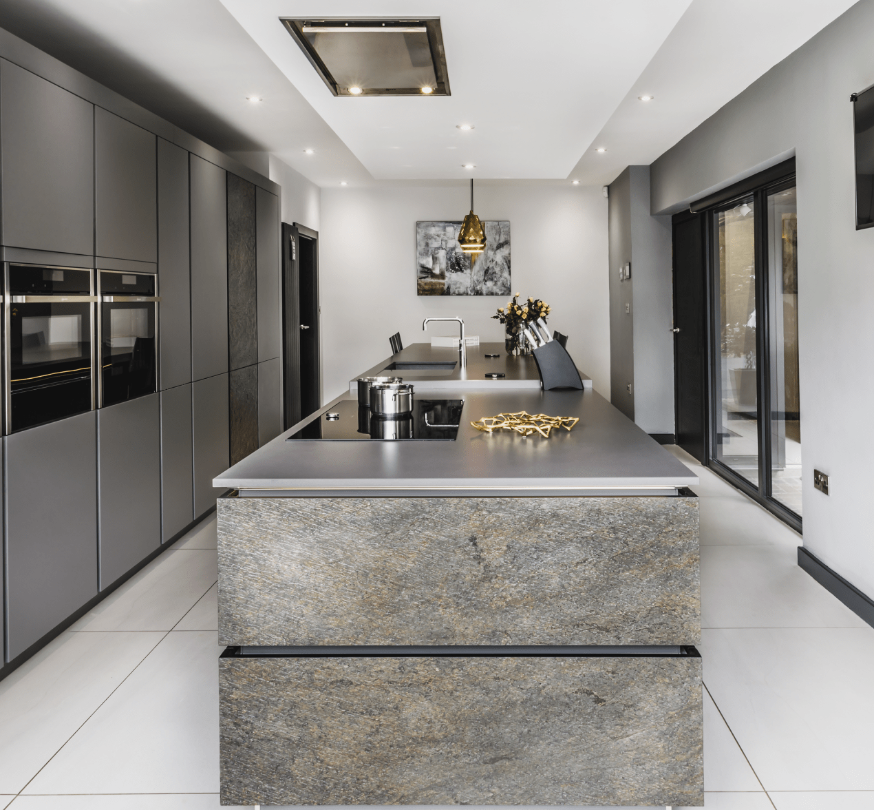 kitchen designers island granite top showroom blackburn kitchens design centre striking monochrome style