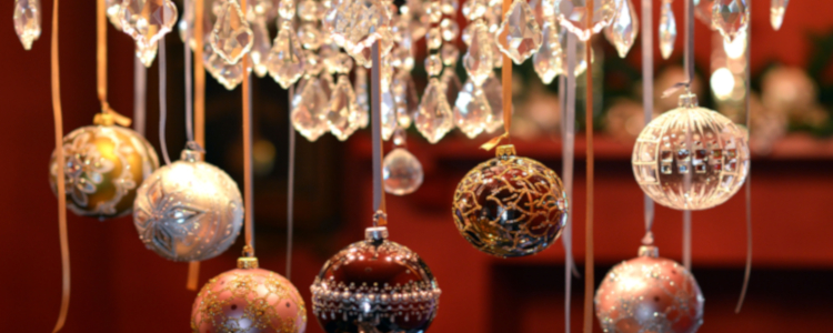 Baubles hanging from chandelier