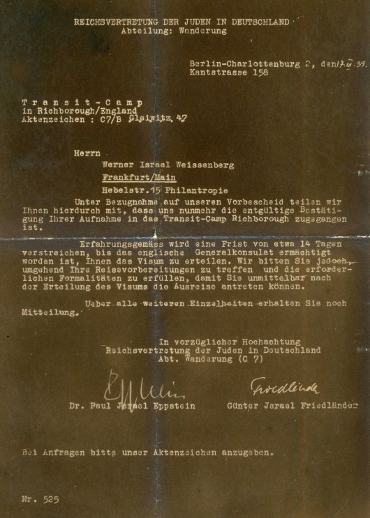 Kitchener Camp acceptance letter 1939