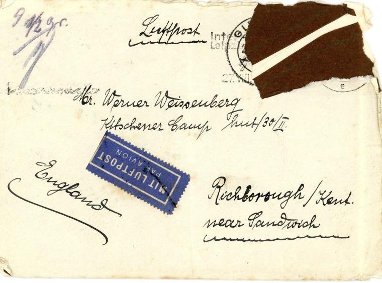 Envelope, Kitchener Camp, Richborough, Address - from Gleiwitz 1939