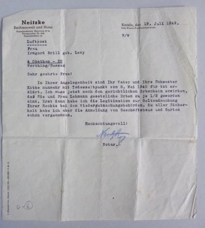 Walter Brill - letter 1949