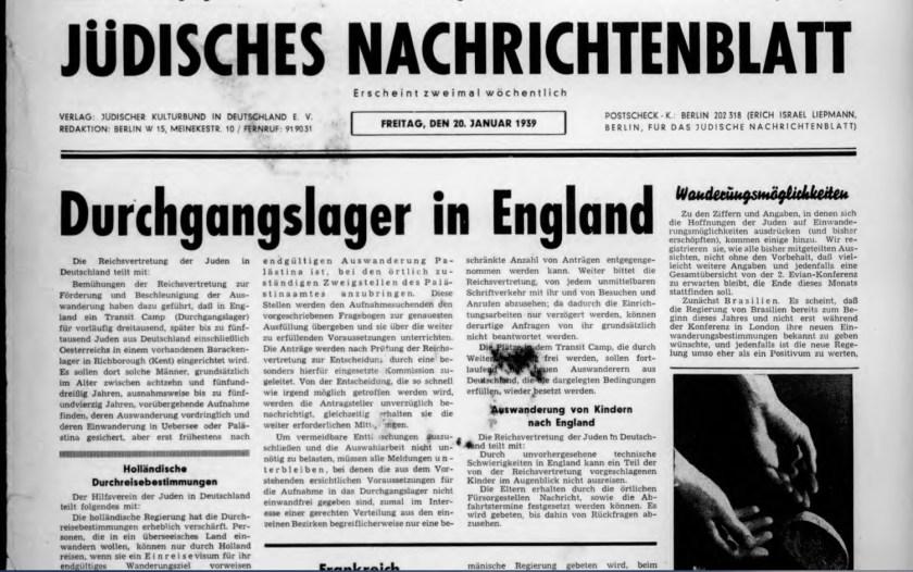 Jüdisches Nachrichenblatt, no.6, January 1939