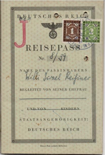 Kitchener camp, Willi Reissner, passport, page 1 1939