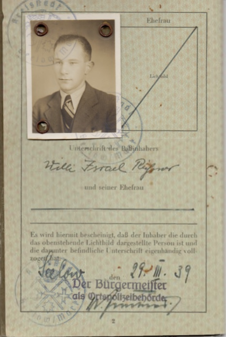 Kitchener camp, Willi Reissner, passport, page 2, 1939