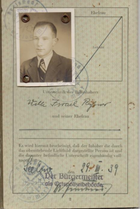 Kitchener camp, Willi Reissner, passport, page 2, 1939