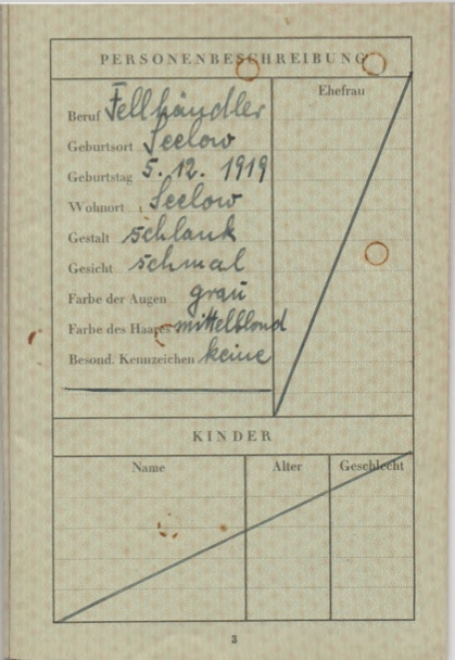 Kitchener camp, Willi Reissner, passport, page 3, 1939