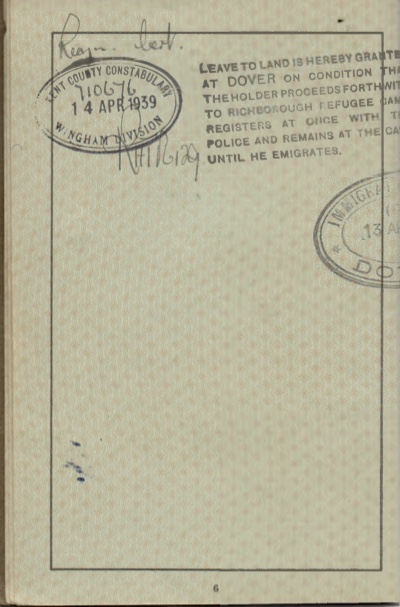 Kitchener camp, Willi Reissner, passport, page 5, 1939