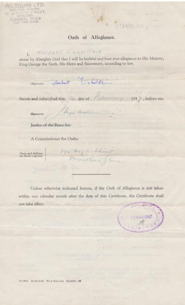 Kitcheer camp, Herbert Fraser, British Naturalisation document, page 2