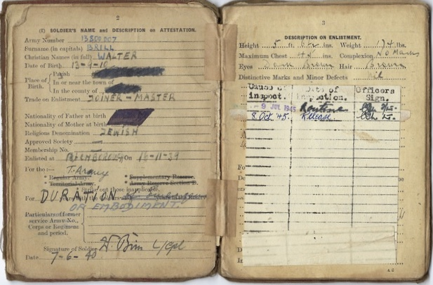 Kitchener camp, Walter Brill, soldier's pay book, 1940