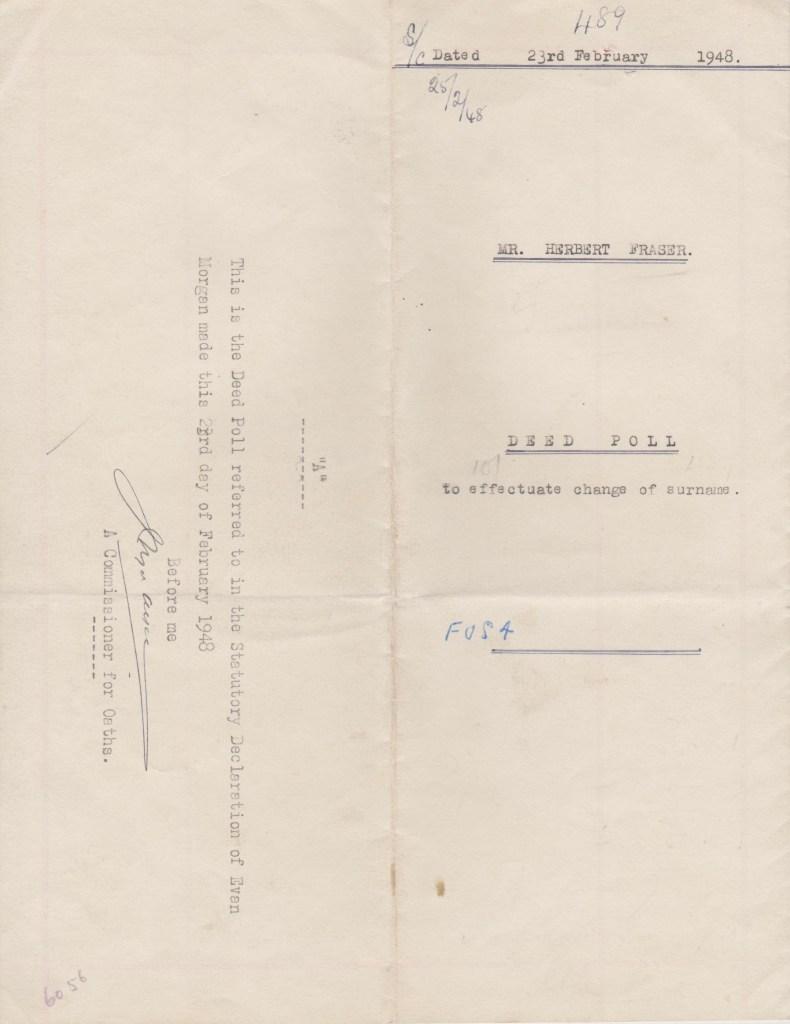 Kitchener camp, Herbert Finkelstein, Official change of name, 1948
