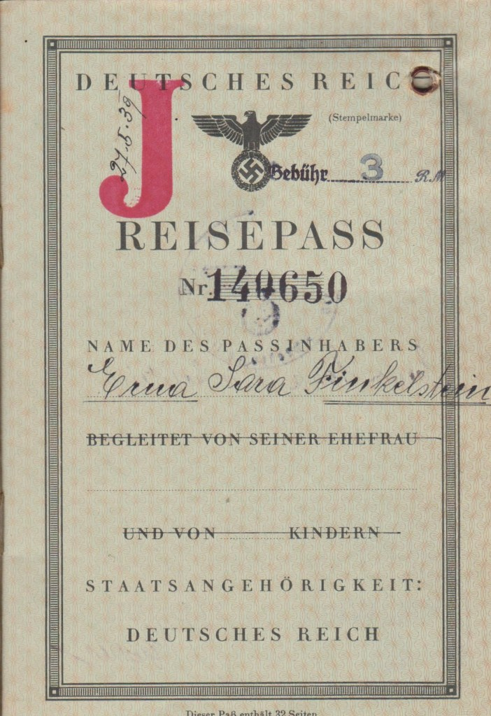 Kitchener camp, 27 May 1939 Erna Finkelstein, German passport